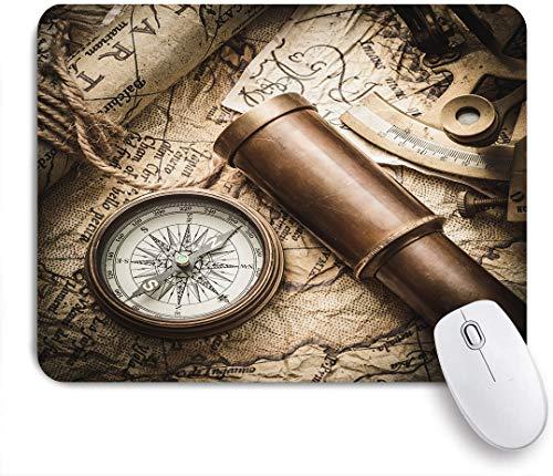 SUHOM Gaming Mouse Pad Rutschfeste Gummibasis,Vintage Stillleben mit Kompass Sextant Fernglas und alte Karte,für Computer Laptop Office Desk,240 x 200mm