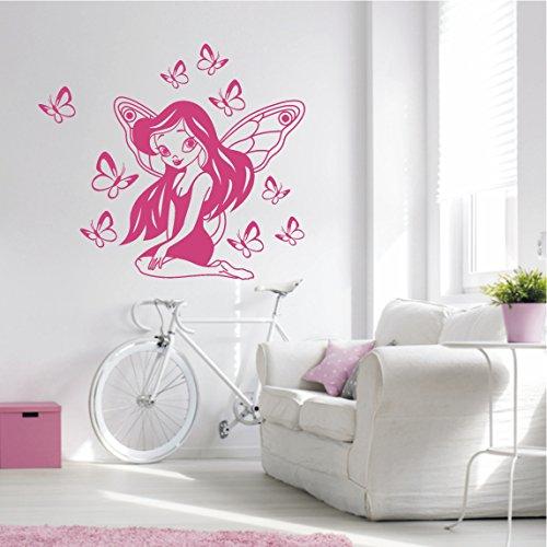 HomeTattoo ® WANDTATTOO Wandaufkleber Zauber Elfe Fee Schmetterlinge Fantasy Kinderzimmer 484 ( L x B ) ca.85 x 75 cm (hellpink 426)