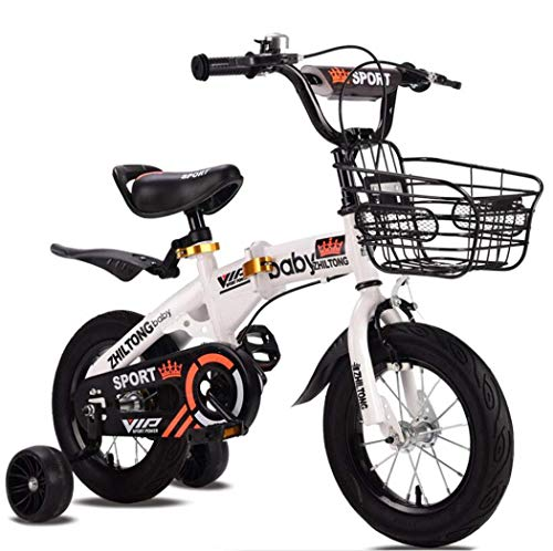 Bicicleta plegable de Kid, ultraligero Niños de bicicletas, bicicletas ajustables infantil, Asamblea de conexión rápida de bicicleta de los niños, con la cesta y de ruedas de entrenamiento,18 inch