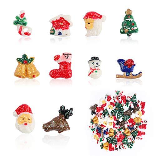 50 piezas de adornos navideños de resina en miniatura,árbol de Navidad,Papá Noel,muñeco de nieve,alce,bastón de caramelo,lindos abalorios de limo para accesorios para el cabello,pendientes de uñas