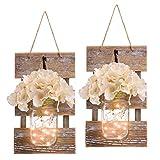 HOMKO Mason Jar Wall Decor with LED Fairy Lights and Flowers - Farmhouse Home Decor (Set of 2)