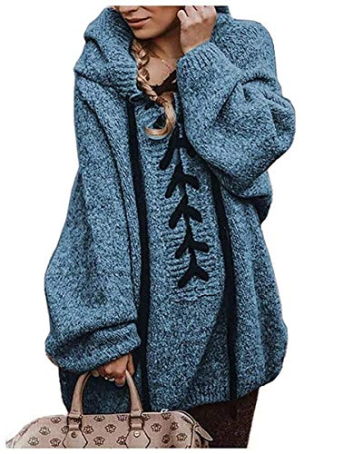 Vrouwen Hooded Knitted Jumper Loose Solid Outwear Pullover Sweater Tops