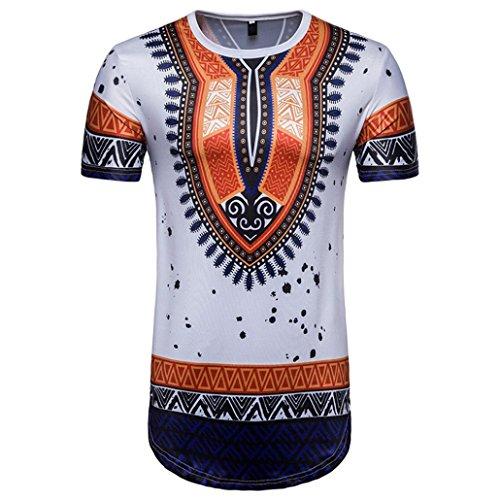 Lilicat Herren Sommer T-Shirt Kurzarm T-Shirt Casual Tank Top Retro Oberteile Vintage Bluse Beiläufig Afrikanischer Druck Rundhals Elegant Hemden Mode Tuniken Sports Tunika (M, Weiß)