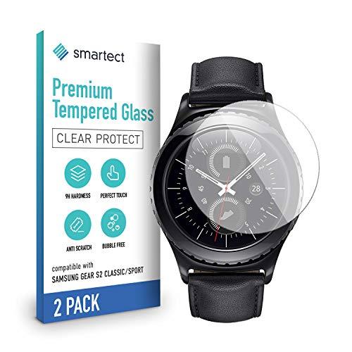 smartect Schutzglas kompatibel mit Samsung Gear S2 Classic/Sport [2 Stück] - Tempered Glass mit 9H Festigkeit - Blasenfreie Schutzfolie - Anti-Kratzer Bildschirmschutzfolie