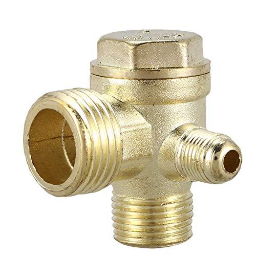 KHBD Rückschlagventil 2/5' 3/8' PT 1/2' Außengewinde T-Stück Metall-Luft-Rückschlagventil Kompressor Rückschlagventil Goldton Easy/dauerhaft zu installieren (Size : 1)