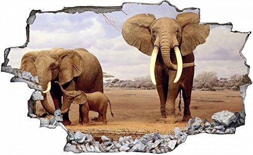Safari Afrika Elefanten Wandtattoo Wandsticker Wandaufkleber C0058 Größe 60 cm x 90 cm