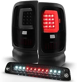 For [LED Set] 94-01 Dodge Ram BR BE Black Smoked LED Tube Tail Light + Black 3rd Brake Lamp Combo