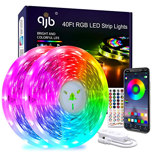 40 Ft Led Strip Lights Bluetooth - RGB 5050 Led Music Sync Color Changing Lights, App Controlled - for Bedroom, Party Decoration