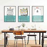 Cartel de dibujos animados oso hipopótamo y pájaro natación lienzo escandinavo animales pintura arte impresión cuadro de pared sala de estar decoración del hogar 20x30cmx3 Sin marco
