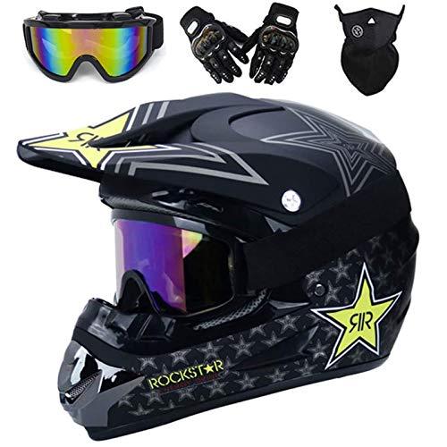 VOMI Casco de Motocross de Profesión para Niño, Casco Enduro Downhill para Bicicleta de Montaña, Visera Ajustable, Carcasa ABS, Forro Extraíble, Casco de Moto Cross Seguridad (Grün,M 54-55CM)