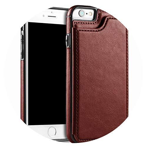 Custodia per iPhone 55S se 66S 7x XR XS max 8Plus PU Flip Cover posteriore porta foto, marrone, per iPhone 55S se