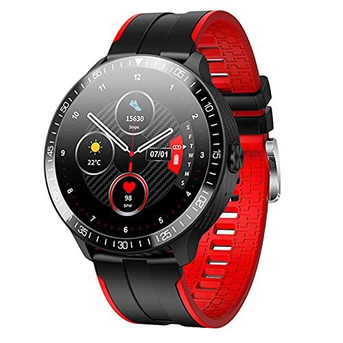 QFSLR Reloj Inteligente Smartwatch con Monitoreo De Temperatura Llamada Bluetooth Monitor De Frecuencia Cardíaca Monitor De Presión Arterial Monitoreo De Oxígeno En Sangre,Rojo