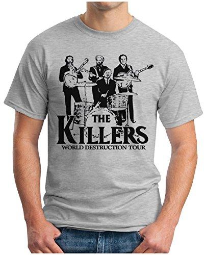 OM3® - The Killers World Destruction Tour - T-Shirt Punk Rock Hardrock Music Parody Geek, S, Grau Meliert