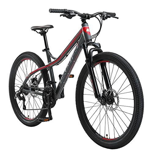 BIKESTAR Hardtail Aluminium Mountainbike Shimano 21 Gang Schaltung, Scheibenbremse 26 Zoll Reifen | 16 Zoll Rahmen Alu MTB | Grau & Rot