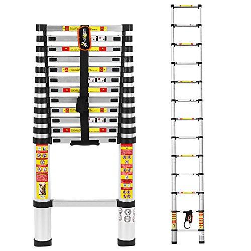 Preisvergleich Produktbild 3, 8 M Teleskopleiter Aluminium-Klappleiter mit Finger Sicherheitseinstellungen und und entspricht EN131,  SGS und CE-Standards von Anordsem