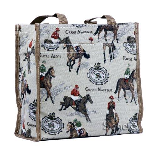 Signare Tapiz bolsas reutilizables bolsa compra tote bag con diseño de caballo y oveja (Las carreras de caballos)