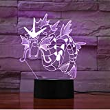 Pokemon 3D Lampe Gyarados 7 Couleurs Led Veilleuses Pour Enfants Tactile Led Usb Table Lampara Lampe Bébé Sommeil Veilleuse