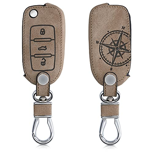 kwmobile Funda para Llave de Coche Compatible con VW Skoda Seat - Carcasa de Ante sintético para Mando de Coches - Aguja magnética