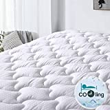 Abakan Mattress Pad Queen Size Cooling Mattress Cover 100% Cotton Quilted Mattress Topper White Bed Topper Down Alternative Filling (8-21' Fitted Deep Pocket)