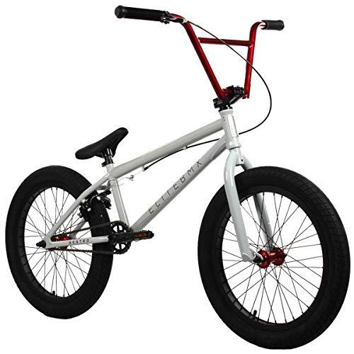 "Elite 20"" & 18"" BMX Bicycle Destro Model Freestyle Bike - 4 Piece Cr-MO Handlebar (20"" Light Grey-Red)"