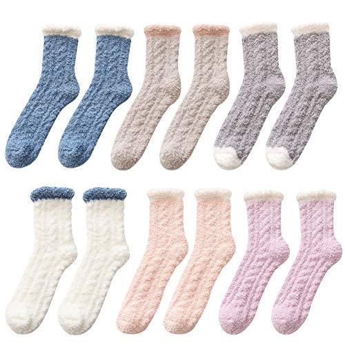 Chaussettes Moelleuses CHEPL 6 paires Chaussettes Floues Chaussettes d'Hiver Chaussettes d'hiver épais et Chaudes pour Femmes