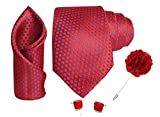 Rizoro Mens Plaid Dotted Silk Necktie Gift Set With Pocket Square Cufflinks & Lapel Pin Formal Tie (Red A12RDRX Free Size)