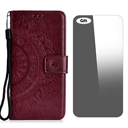 LG V30/LG V30 Plus Hülle, Conber Lederhülle Handyhülle + [Frei Schutzfolie], Totem Stoßsichere Kartenfach PU Tasche Leder Flip Hülle Cover Schutzhülle für LG V30/V30+/V30S ThinQ - Braun