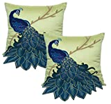 BLUETTEK Embroidered Gorgeous Peacock Decorative Throw Pillow Case - 18 Inch by 18 Inch- Pack of 2