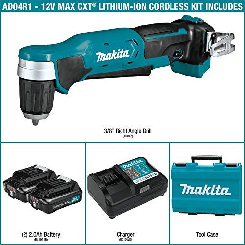 Makita AD04R1 12V max CXT Right Angle Drill Kit, 3/8