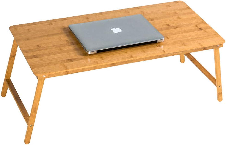 ZXW Folding Table Foldable Laptop Desk, Home Bedroom Dormitory, Simple Desk Computer Desk (color   Wood color, Size   80x38x32cm)