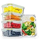FITPREP® Frischhaltedosen aus Glas mit Deckel [5 Stück - 840ml] - super für Meal Prep -...