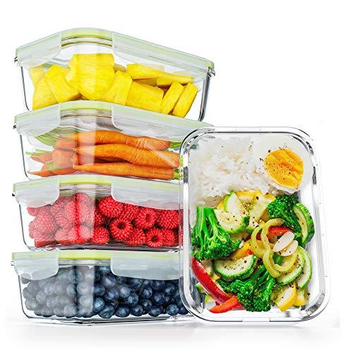 FITPREP® Frischhaltedosen aus Glas mit Deckel [5 Stück - 840ml] - super für Meal Prep - Glasbehälter mit Deckel der 100% dicht ist - inkl. schönem Rezeptheft
