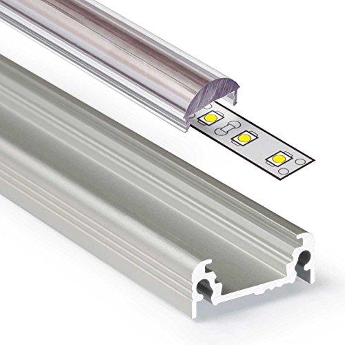 2m Aluprofil SURFACE (SU) 2 Meter Aluminium Profil-Leiste eloxiert für LED Streifen - Set inkl Abdeckung-Schiene durchsichtig klar mit Montage-Klammern und Endkappen (2 Meter transparent lens click)