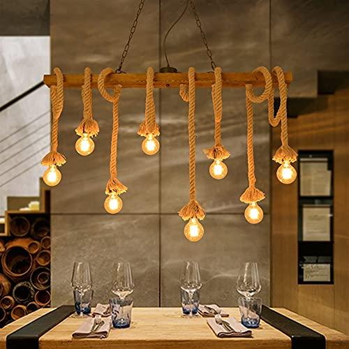 ZRWZZ Lámpara Colgante Loft Lámpara De Cuerda De Cáñamo De Madera Maciza, Lámpara Colgante De Cuerda Retro, Tienda De Ropa De Restaurante Creativo Decorativo (Color : 8 Light-110CM)