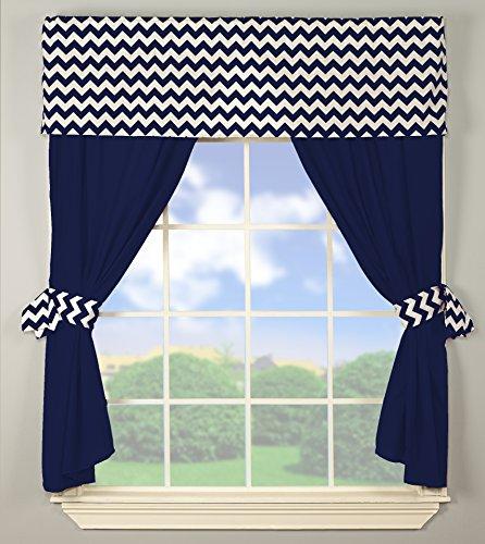 Baby Doll Bedding Chevron Window Valance and Curtain Set, Navy