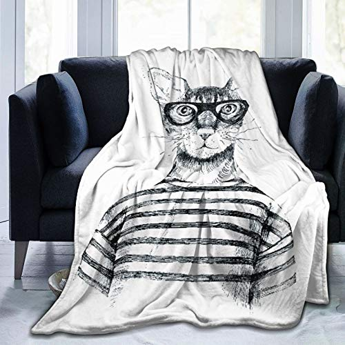 Blived Manta Mantas de Franela,Dibujado a Mano Disfrazado Gato Hipster Manta de Lana Manta de sof Manta de Aire Acondicionado de da luz para sof Cama 125x100cm