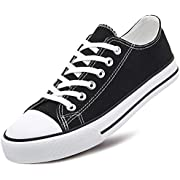 Adokoo Womens Canvas Shoes Casual Cute Sneakers Low Cut Lace up Fashion Comfortable for Walking(Black,US11