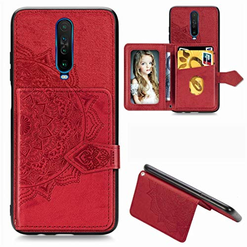 JIAHENG Phone Case For Xiaomi Redmi K30 Mandala Embossed Magnetic Cloth PU + TPU + PC Case with Holder & Card Slots & Wallet & Photo Frame & Strap PU Leather Cover Shell (Color : Red)