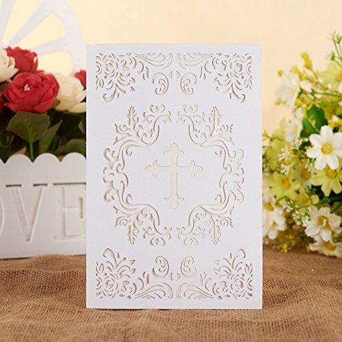JOLALIA - Partyeinladungen in Kreuz Weiß, Größe 4.7 x 7inch