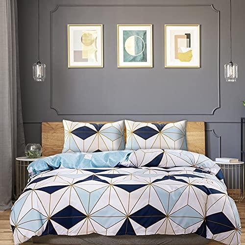 Oxford Street Funda nórdica Cama Doble (200cm x 200cm) con 2 Fundas de Almohada, Cómoda Funda de Cama Cierre de Cremallera Azul Blanco Patrón de Diamantes Poliéster antiácaros