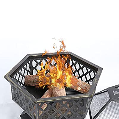 Soayone Garden & Outdoor Hex-Shaped Wood Fire Pit with Spark Screen Poker and Fireplace Cover(Hexagonal Shaped)