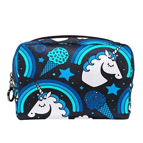 Bolsa de cosméticos Bolsa de Maquillaje para Mujer para Viajar Llevar cosméticos Cambiar Llaves, etc.,con Unicornio y Arco Iris sobre Fondo Oscuro