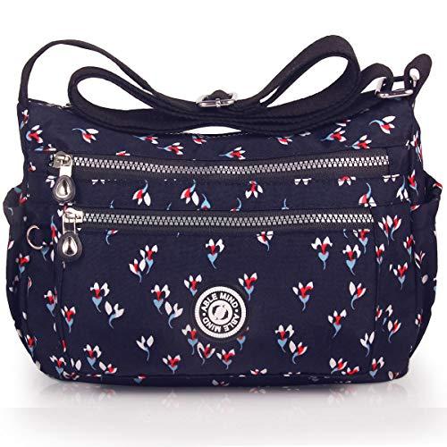 ABLE Waterproof Bolsos de Mujer Nylon Hombro Bolso Bolsa Impermeable para (1-Negro Azul(Flor))