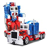YARMOSHI Transforming Robot Truck 2 in 1 Action Figure - Autobot. Red & Blue, Remote Control Fighter Toy with USB Cable. Made of Safe, Sturdy M