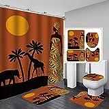 Fashion_Man - Juego de 16 cortinas de ducha para mujer africana de león (tela de poliéster, resistente al agua, alfombra de baño, alfombra de baño para mujer afro egipcia, 183 x 183 cm, estilo 6)