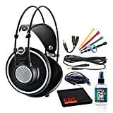 AKG K702 Open-Back Reference Studio Headphones Bundle with (6) Velcro Cable Ties + Headphone Extension Cable + 3.5mm Splitter + Headphone Cleaning Kit