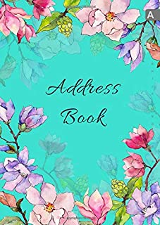 Address Book: A4 Big Contact Notebook Organizer | A-Z Alphabetical Sections | Large Print | Magnolia Wildflower Watercolor Design Turquoise