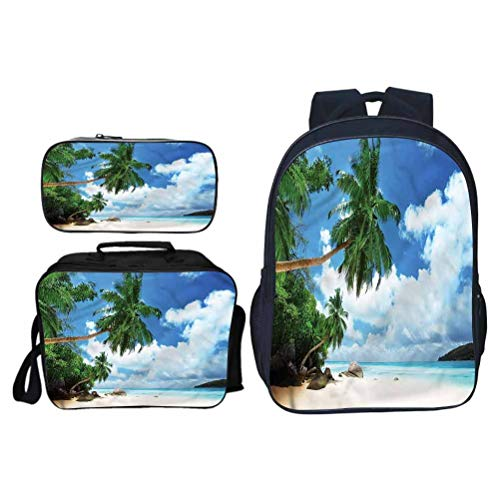 Schoolbag Backpack Beach Beach on Mahe Island School Bag for Daily Use and Outdoor Activities