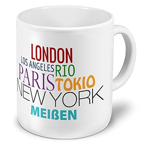 XXL Jumbo-Städtetasse Meißen - XXL Jumbotasse mit Design Famous Cities of the World - Städte-Tasse, Städte-Krug, Becher, Mug
