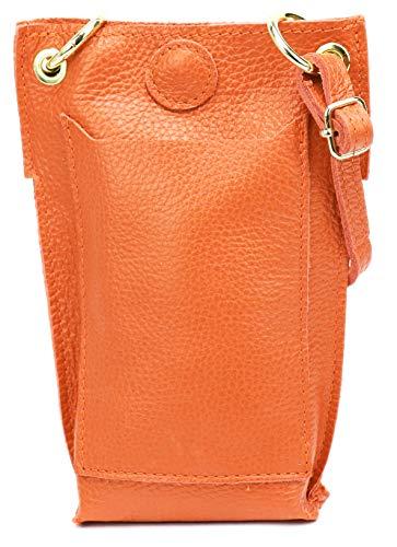 SH Leder Jessy G298 - Bolso bandolera de piel para mujer, multifunción, bolso para el hombro, extraíble y ajustable, hasta 6,8 pulgadas, 14 x 20 cm, color Naranja, talla Small